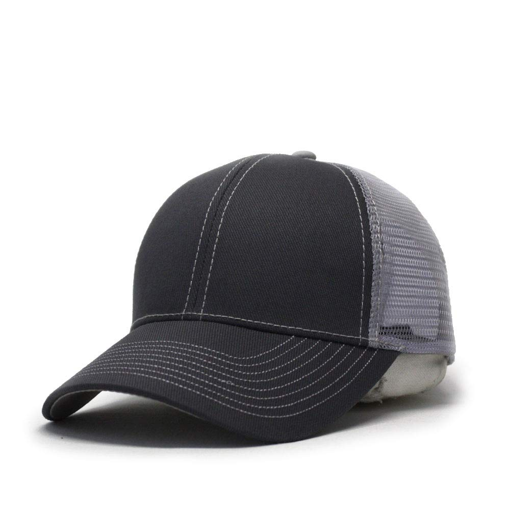 Vintage Year Plain Cotton Twill Mesh Adjustable Trucker Baseball Cap (CharcoalGray/CharcoalGray/Gray)