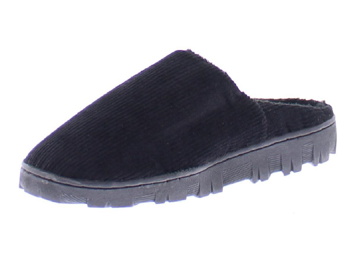 Gold Toe Boy's Clyde Corduroy Fleece Lined Memory Foam Indoor Outdoor House Slipper,Slip On Clog Shoe Black M