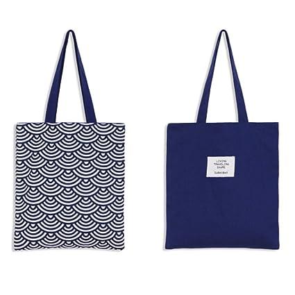 LAAT Bolsa para la compra plegable y reutilizable – Bandolera de algodón, una solución ecológica para ir al mercado – 5 colores, azul, 37x33cm