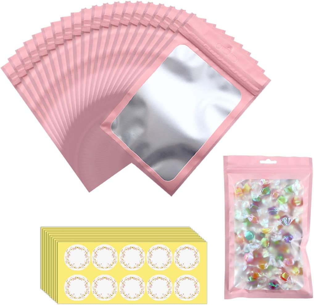 Beilecy 100 Pcs Resealable Mylar Ziplock Smell Proof Bags with 100Pcs Label Stickers Self Sealing Packaging Bags with Front Window for Candy/Food/Products, Matte Pink,4 x 6 Inch