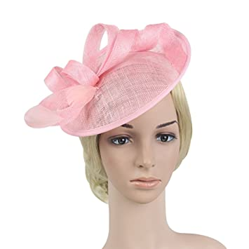 ef79a29d Amazon.com : BIGKING Retro Sinamay Derby Hat with Fascinator Veil Mesh  Ideal Wedding Tea Party Headband Ornament : Beauty
