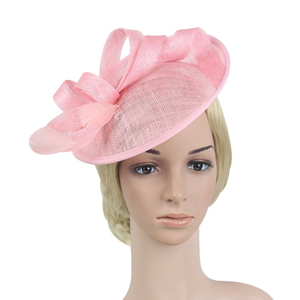 ACTLATI Charming Flax Bowknot Headband Feather Hair Band Party Girls Women Fascinator Creative Cocktail Hat Pink