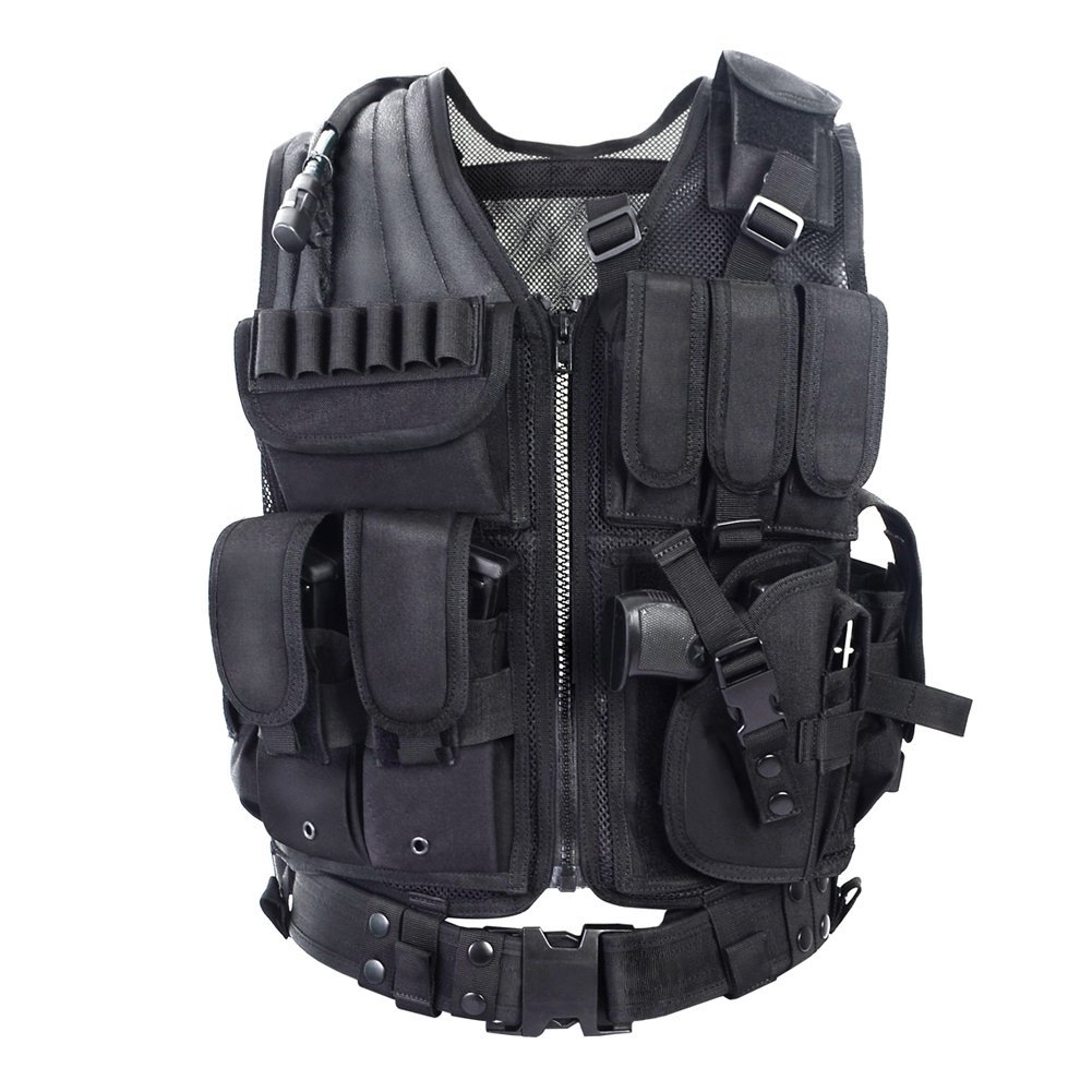 YAKEDA Army fans Tactical Vest CS Field Outdoor Equipment Supplies Breathable lightweight tactical vest SWAT Tactical Vest Special Forces combat training vest--VT-1063 black
