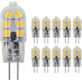 Dayker 2W G4 LED Bi Pin Bulb Dimmable Jc Type G4 Base Lightbulb AC/DC 12V Warm White for Under Counter Lighting, Puck Lighting, Ceiling Lighting(10 Pack)