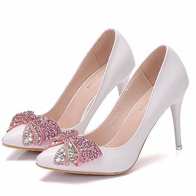 LEIT Damenschuhe Spitze Hochzeit Single Schuhe Wies Flache Schuhe Weiß, 41, Weiß
