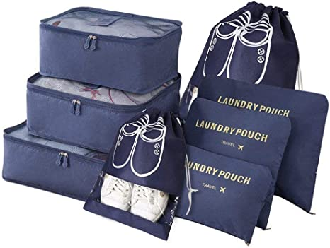 Navy Blue, 8 PC Packing Cubes Luggage Organiser with Shoe Bags Waterproof Travel Laundry Pouch Lightweight Suitcase Storage Bag