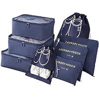 Vicloon Koffer Organizer, 8-in-1-Set Gepäck Organizer, wasserdichte Reise Kleidertaschen umfassen 2 Schuhbeutel, 3 Packwürfel und 3 Aufbewahrungsbeutel, für Kleidung Schuhe Unterwäsche Kosmetik