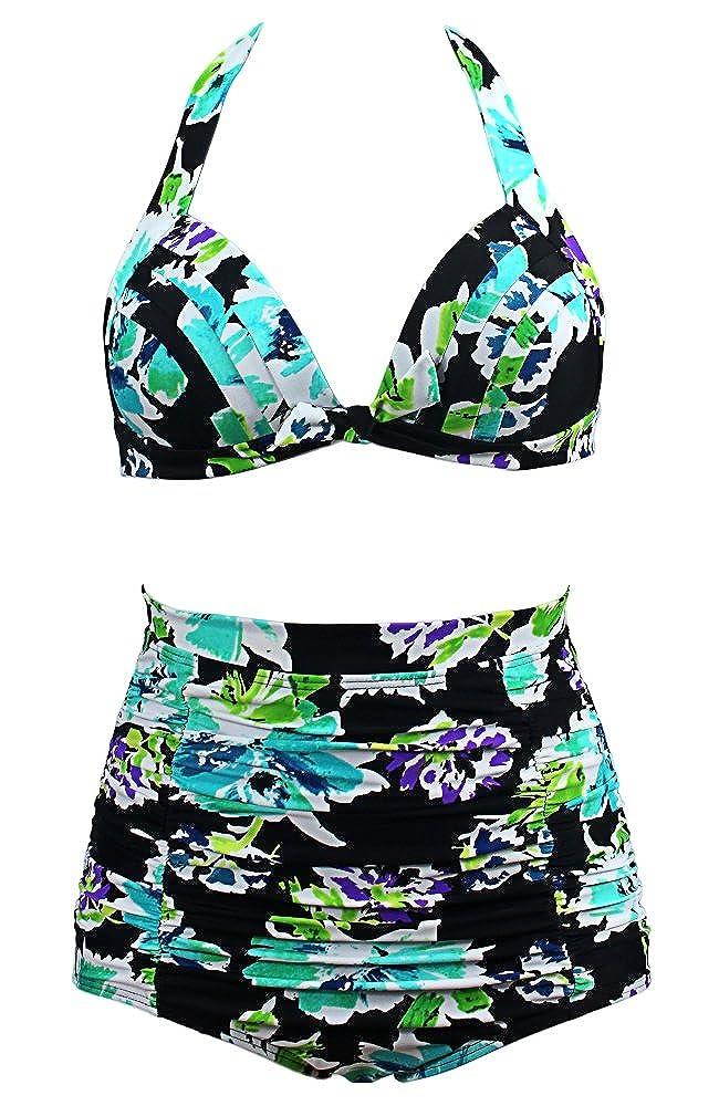 Qiaoer Women Plus Size Vintage Polka Dot Halter High Waisted Bikini Swimsuit Set