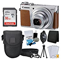Canon PowerShot G9 X Digital Camera (Silver) + SanDisnk 16GB Memory Card + Point & Shoot Camera Case + Hand Grip + 5 Piece Cleaning Kit + Memory Card Wallet + Screen Protectors + Great Value Bundle