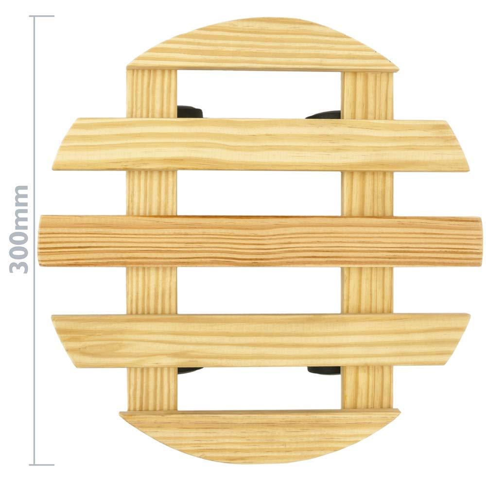PrimeMatik Plataforma Redonda de Madera con Ruedas 30 cm