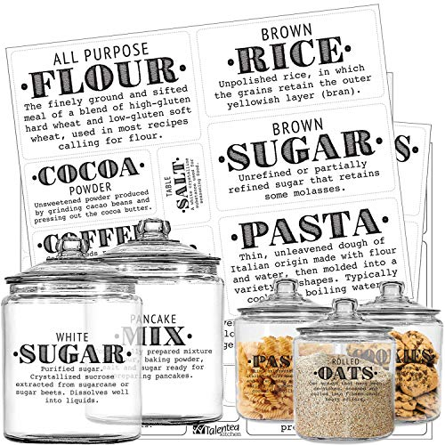 (Pantry Labels - 36 Preprinted Kitchen Labels Sticker Set by Talented Kitchen. PVC Clear, Gloss, Water Resistant, Food & Spice Jar Labels for Pantry Organization and Storage (Set of 36 - Definitions))