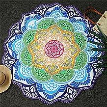 Round Beach Throw Blanket India Mandala Lotus Flower Tapestry Wall Hanging with Tassel Hippie Gypsy Boho Throw Towel Tablecloth, Roundie 60''