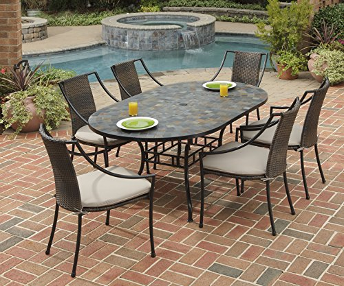 Stone Harbor Black 7Piece Dining Set with Table & 6 Laguna Arm Chairs by Home Styles ()