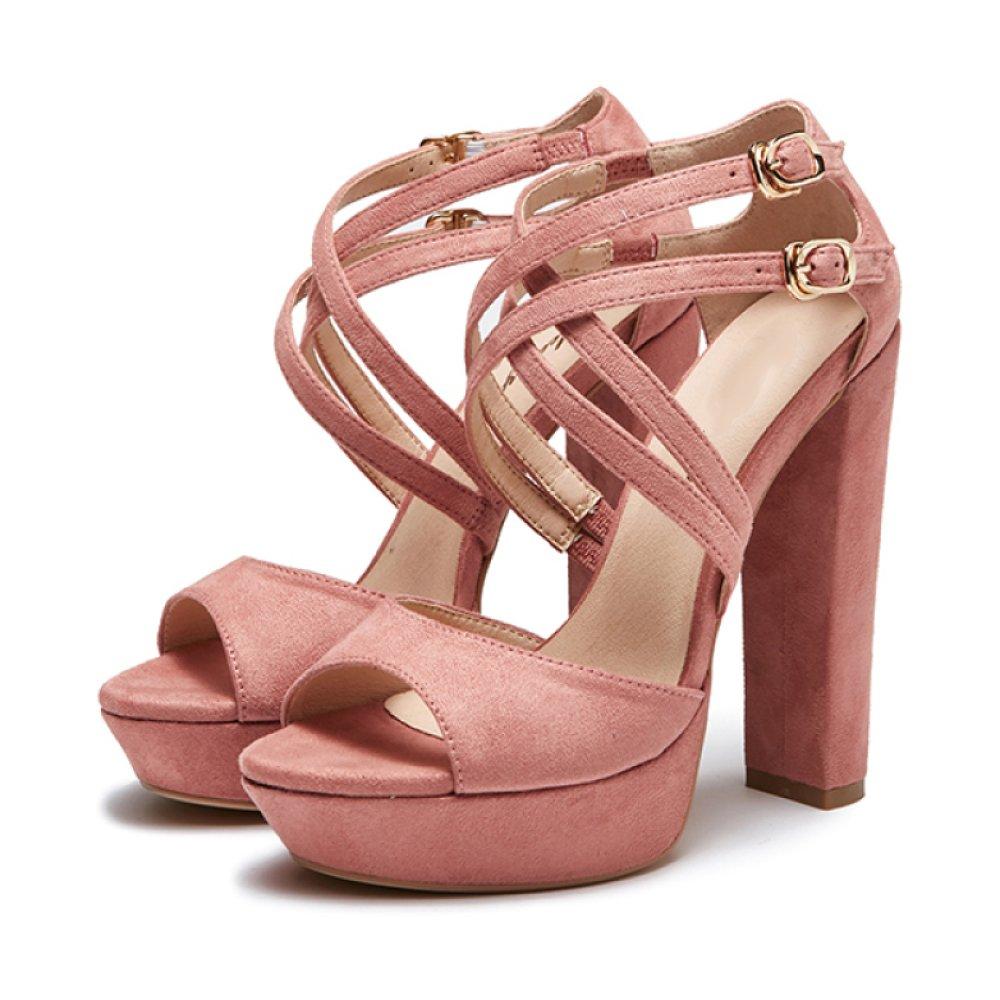 Zapatos De Tacón Alto De Cuero De Gamuza De Las Mujeres Sandalias Cruzadas del Partido De La Tarde De La Plataforma De La Correa Doble 37 EU|Rosa