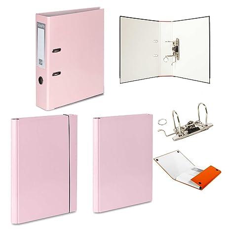 1 x PASTEL rosa archivador de palanca + 2 duro carpetas – 1 velcro banda de