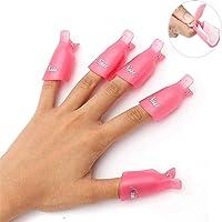 HiMo 10PC Plastic Acrylic Nail Art Soak Off Cap Clip UV Gel Polish Remover Wrap...
