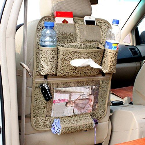 FakeFace Auto Rücksitz Organizer Aufbewahrungstasche Rückenlehnentasche Rücksitztasche Organizer Utensilientasche Rückenlehnenschutz Ablage Speicherbeutel für Flaschen Magazin Schirm (Kaffee)
