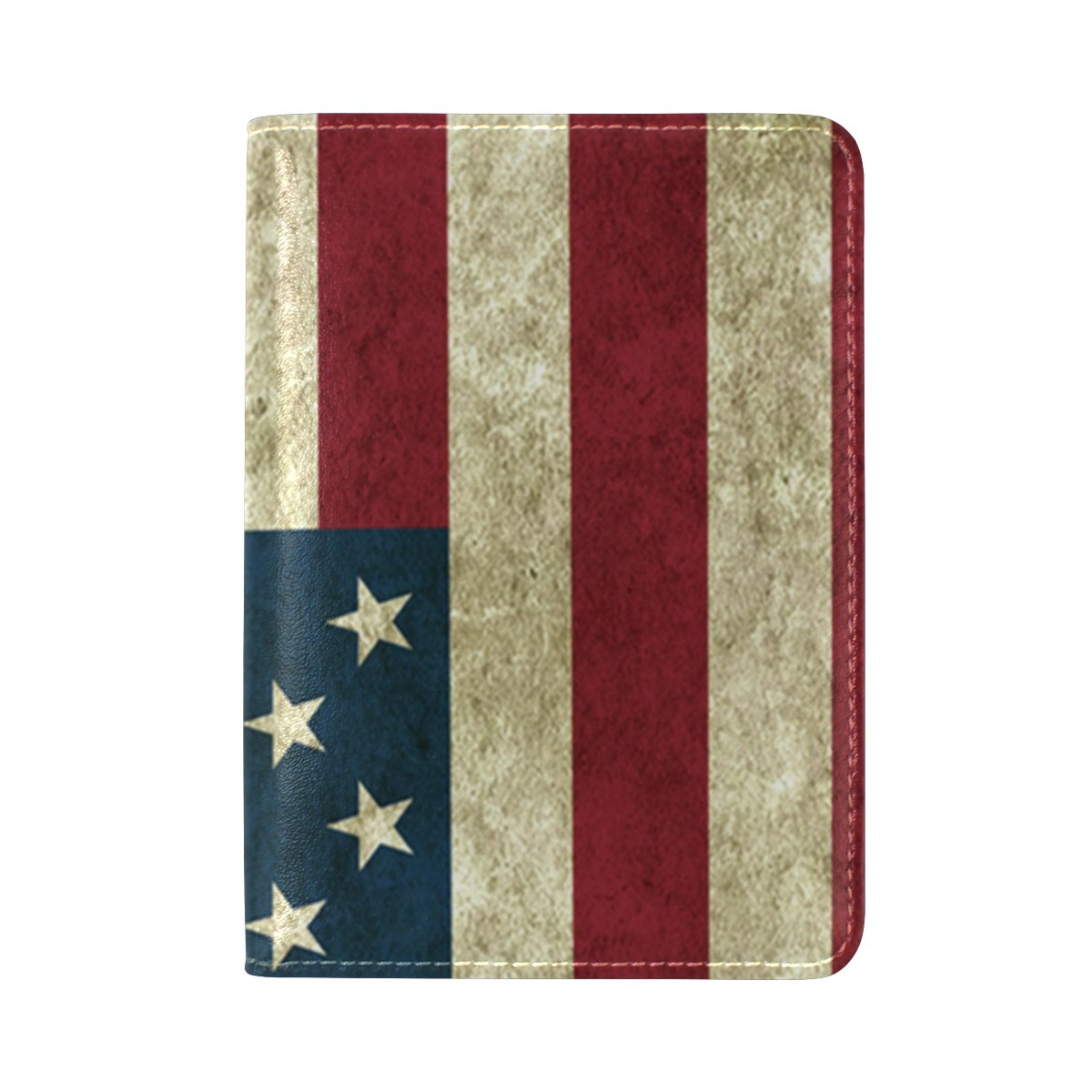FeiHuang USA Flag Genuine Leather Passport Case Holder Cover Protector for Travel Men Women DIY Pattern as Gift