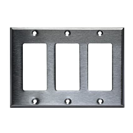 3 Gang Brushed Stainless Steel Outlet Cover Rocker Switch Wall