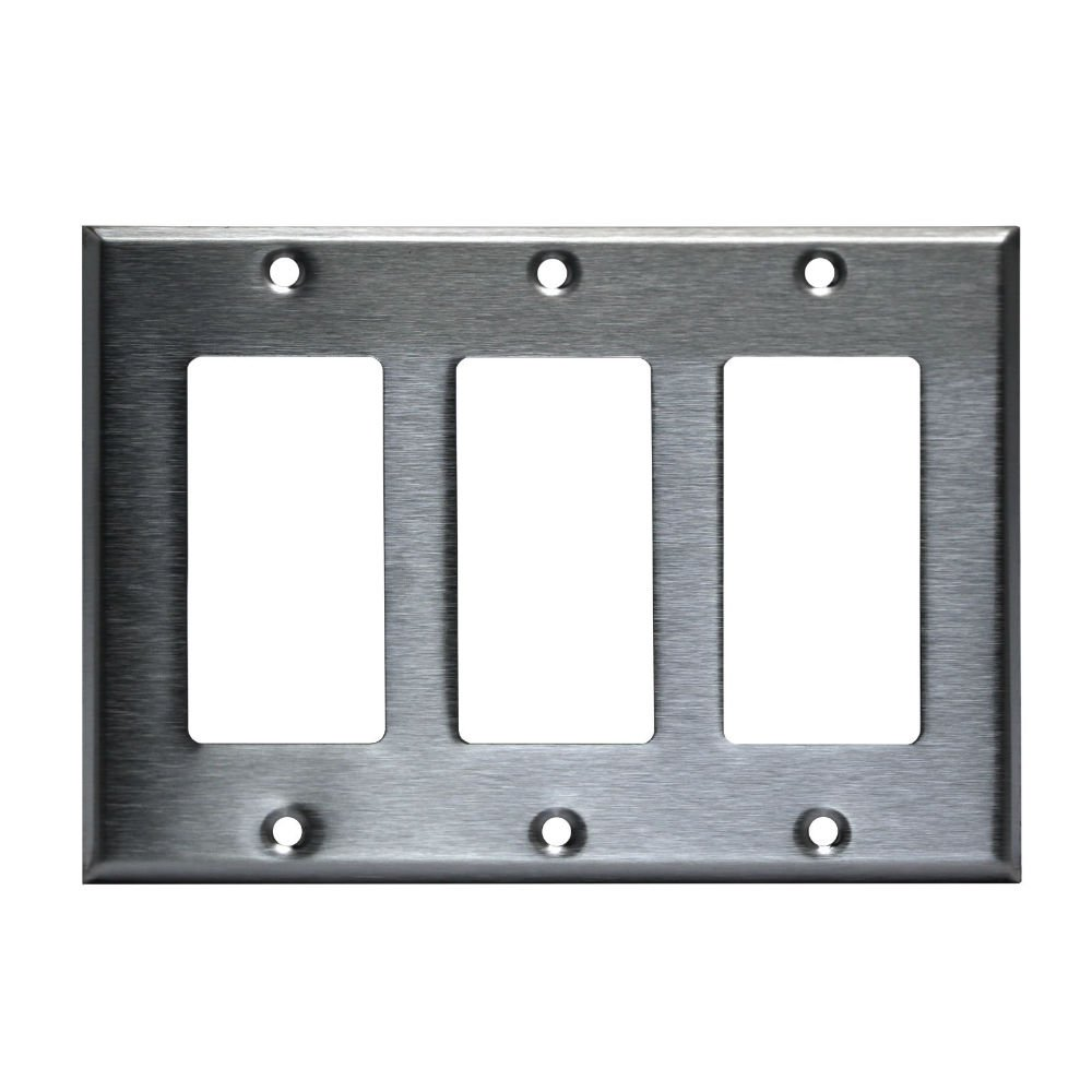 3 Gang Brushed Stainless Steel Outlet Cover Rocker Switch Wall Plates Decorator Metal