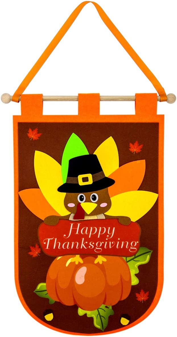 Thanksgiving Door Banner Felt Decor for Home Office Classroom Hanging Decoration Party Supply