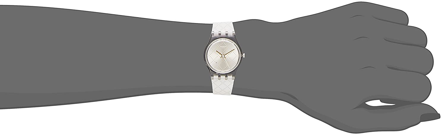 Amazon.com: Swatch Materassino Silver Dial White Siliconie Strap Ladies Watch LK365: Swatch: Watches