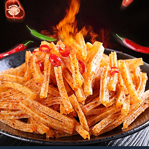 WEI LONG Chinese Special Spicy Snack Food: Spicy Gluten Wei Long La Tiao 20  Packages, 18g x 20 Pack