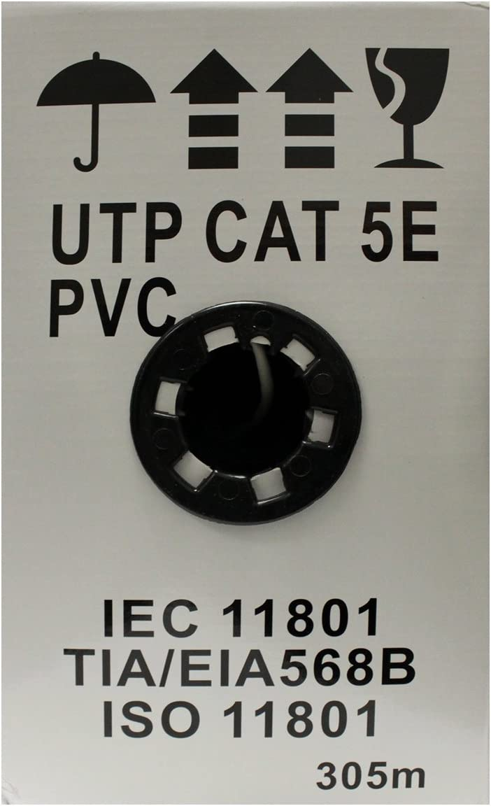 24AWG 1000ft Cat-5e White 350MHZ UTP Solid PVC HDVD Cat5e Ethernet Cable//Wire UTP Pull Box