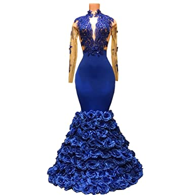 Mermaid Long Prom Dress Royal Blue High Neck See Through Long Sleeve African Prom Dresses With