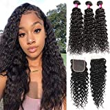 Brazilian 3 Bundles With Lace Closure Water Wave Human Hair Weave Bundles With Closure Free Part 100% Unprocessed Virgin Brazilian Hair (14 16 18+12 closure,free part)