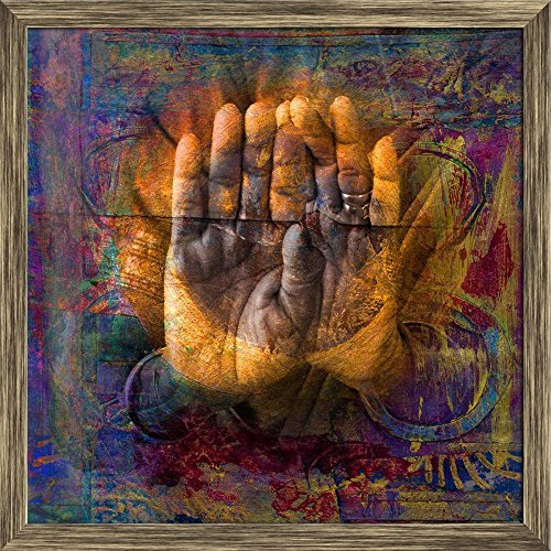 ArtzFolio Gilded Hands in Open Palm Mudra Canvas Painting Antique Gold Wood Frame 20 X 20Inch ()