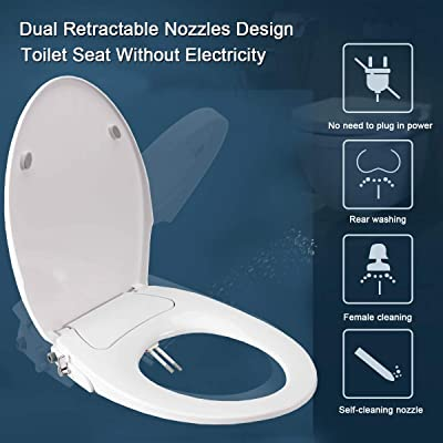 Ultra-Thin Bidet Cold Water Toilet Bidet Self-Cleaning Double Nozzle Toilet Seat Attachment with Mobile Phone Holder for Female Washing 1//2 Tee UK