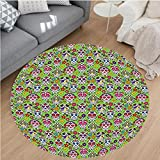 Nalahome Modern Flannel Microfiber Non-Slip Machine Washable Round Area Rug-Skulls Decorations Flowers And Skulls Day Catholic Ceremony Artistic Design Art area rugs Home Decor-Round 75''