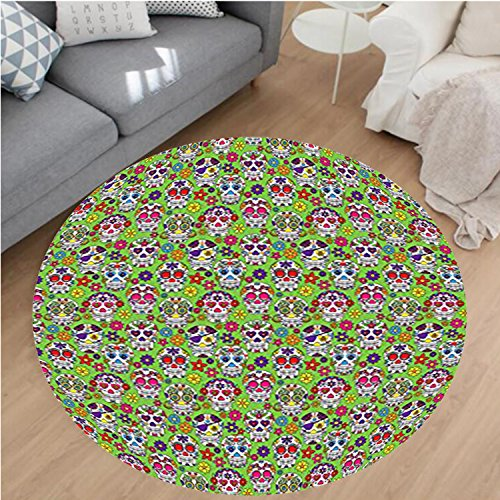Nalahome Modern Flannel Microfiber Non-Slip Machine Washable Round Area Rug-Skulls Decorations Flowers And Skulls Day Catholic Ceremony Artistic Design Art area rugs Home Decor-Round 71'' by Nalahome