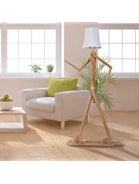 HROOME Modern Contemporary Decorative Wooden Floor Lamp Light With Fold  White Fabric Shade Adjustable Height Standing