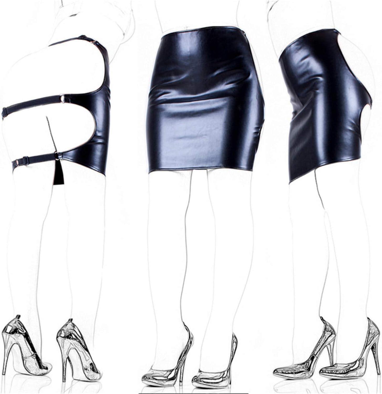 CUIJIUSHILV - Falda de Piel sintética Negra para Mujer, diseño ...