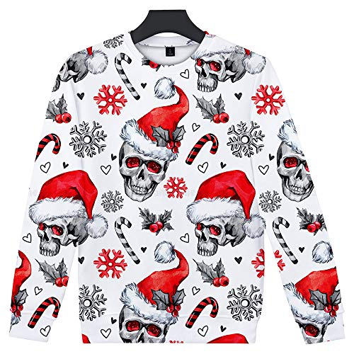 Cheshire Ny Halloween (WenWenXiaoPu Men's Sweater 3D Printing Fun Christmas Casual Loose Round Neck)