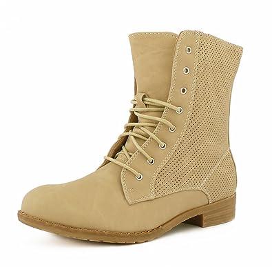 best boots Damen Stiefelette Schnürer Boots Stiefel Trend