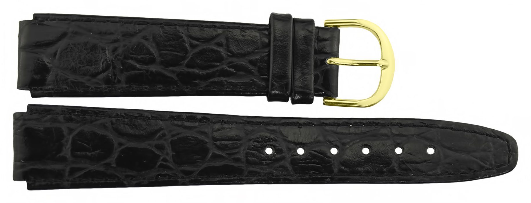 Citime Black Leather Band Replacement, Alligator Pattern, Pin Clasp, 16mm Strap _ B16BlkAli50G