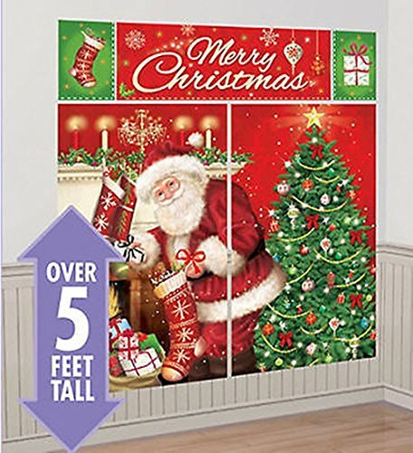(CHSGJY New Santa Claus Scene Setter Christmas Party Wall Sticker Decoration Kit Over 5