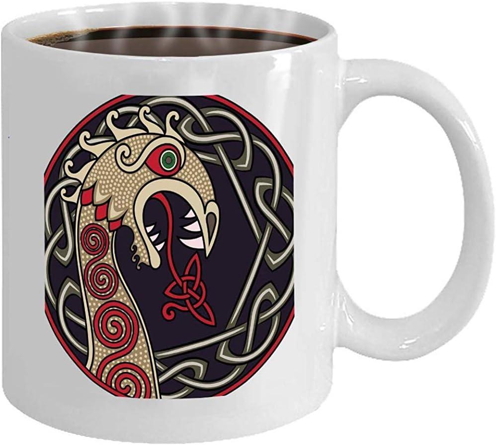 Mug White Coffee Mug Scandinavian Design Nasal Figure Viking Ship Drakka Amazon Co Uk Kitchen Home