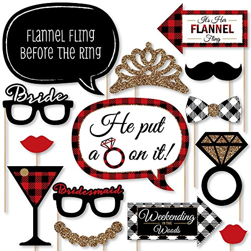 (Flannel Fling Before The Ring - Buffalo Plaid Bachelorette Party Photo Booth Props Kit - 20 Count)