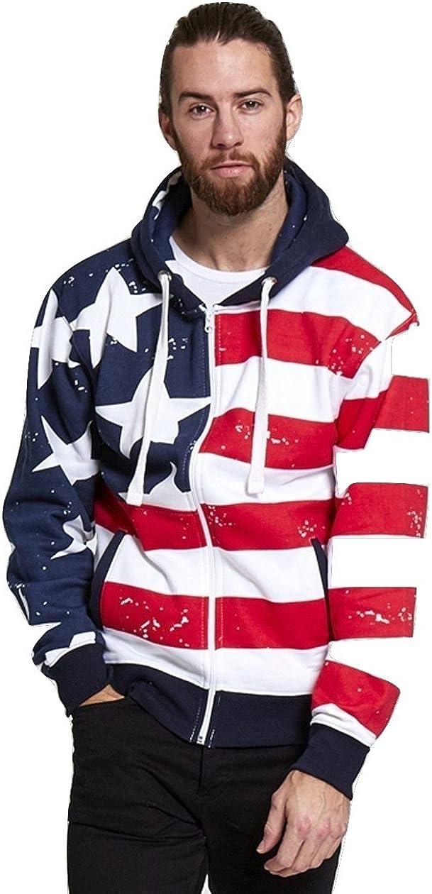 Momo/&Ayat Fashions Mens Ladies American USA Stars and Stripes Zip Hoodie Pullover Sweatshirt Size Small to XXL