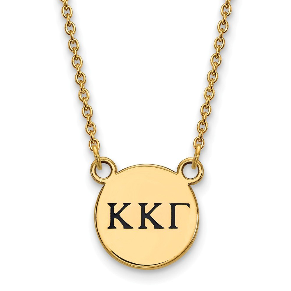 Solid 925 Sterling Silver with Gold-Toned Kappa Kappa Gamma Extra Small Enl Pendant with Necklace