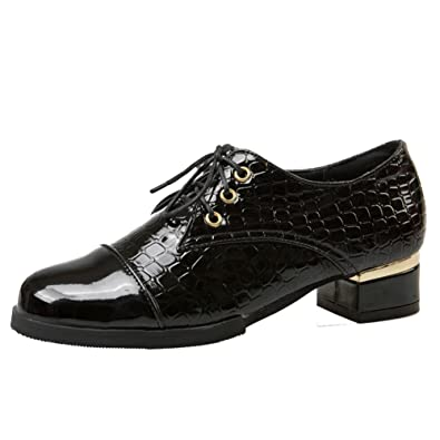 ff3515fa501 Latasa Women s Fashion Faux Crocodile-Skin Lace-up Chunky Low Heel Loafers  Shoes (