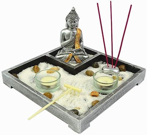 Gerimport Jardin Zen con Figura de Buda meditaciony portavelas Porta inciensios Surtido: Amazon.es: Hogar