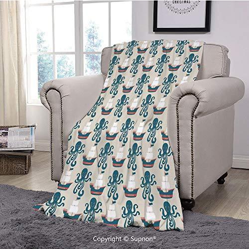 BeeMeng Printing Blanket Coral Plush Super Soft Decorative Throw Blanket,Kids,Pirate Ship and Octopus Sailboat Sails Flag Art Print Sailor Toys Nautical Marine Themed Art Decorative(59