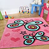 Girl's Pretty Pink Butterfly Cute Decorative Soft Kid's Rug - 2'11'' x 2'11''