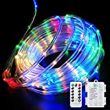 Fitybow 40FT 120 LED Rope Lights,Battery Operated String Lights 8 Modes Fairy Lights with Remote Timer,Outdoor Decoration Lighting for Garden Patio Party,Weddings,Christmas Décor (Multi-Color)