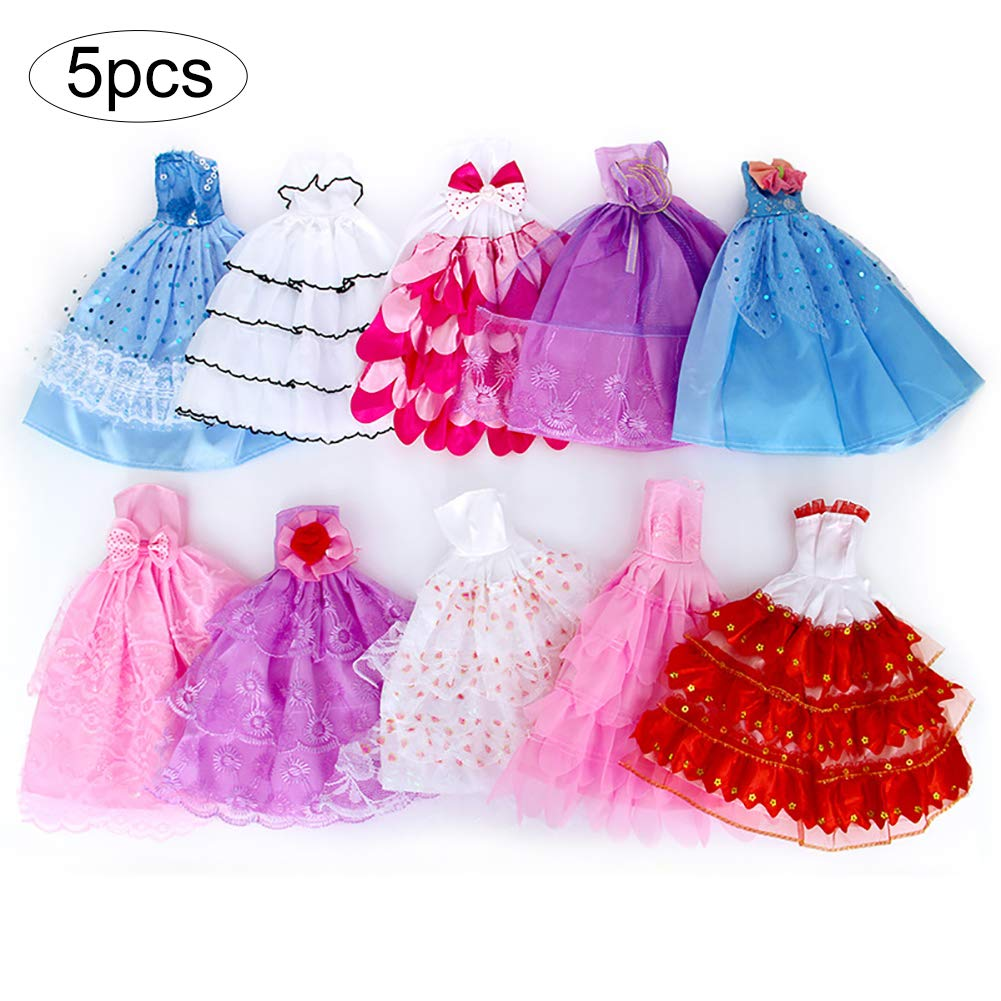 5 PCS Handmade Novelty Barbie Dress Wedding Party Gown Dresses Clothes for Barbie Doll Xmas Gift(Random) Wudi